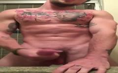 Sexy Tatted Latino Cums